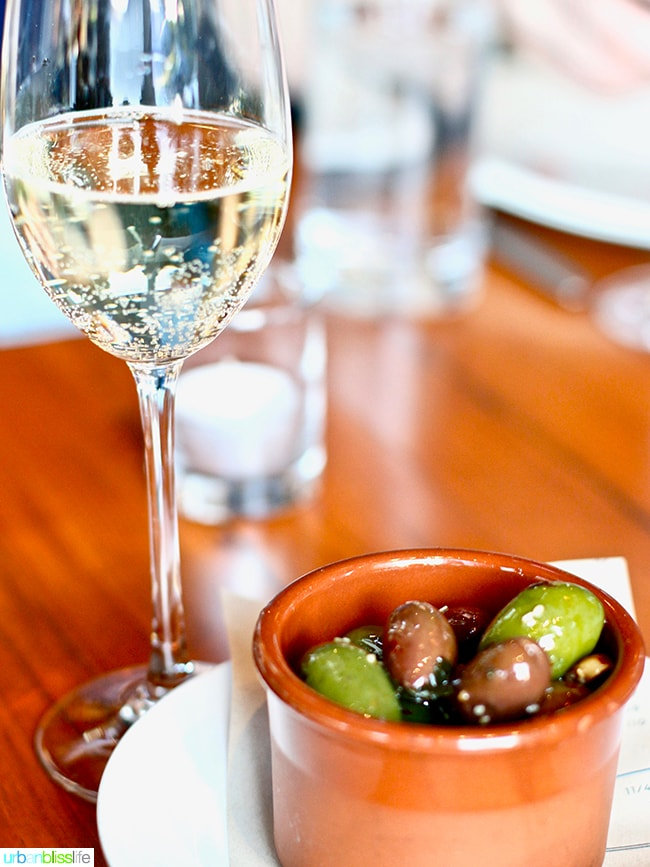marinated olives at Ray restaurant, Israeli cuisine in Portland, Oregon. Restaurant review on UrbanBlissLife.com