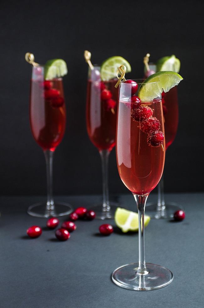 Cranberry Champagne Cocktail 20 Festive Winter Party Cocktails on UrbanBlissLife.com