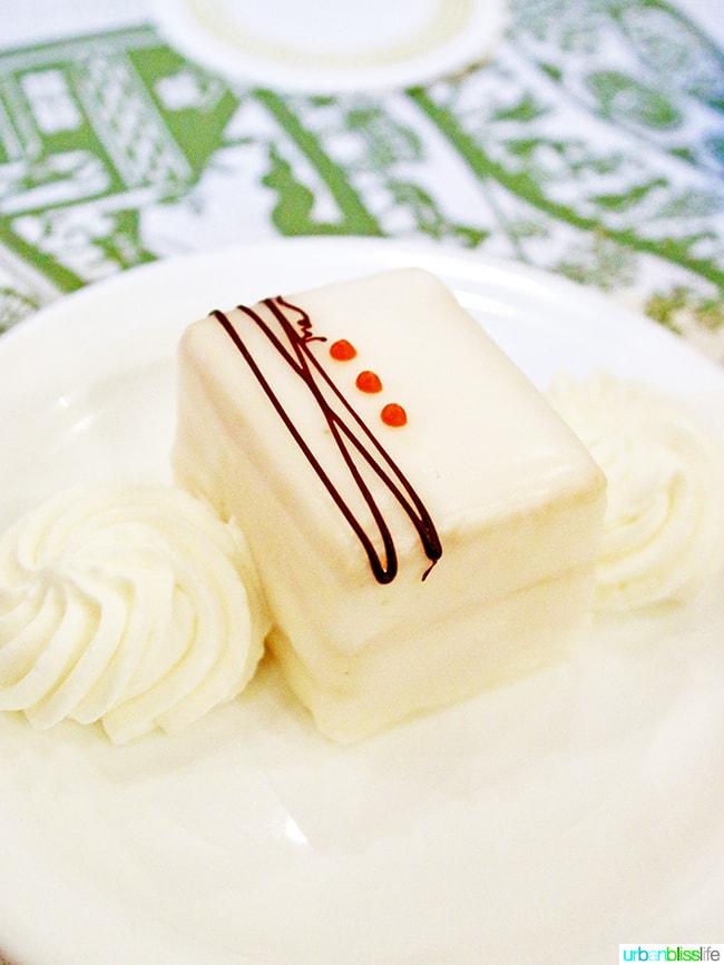 petit four dessert at André's Confiserie Suisse in Kansas City. Restaurant review on UrbanBlissLife.com