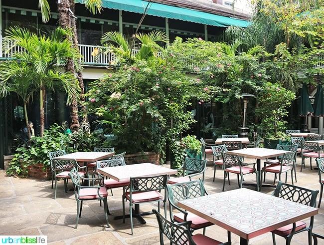 Outdoor patio at Brennan's Restaurant, travel stories on UrbanBlissLife.com