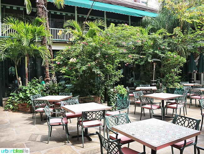 Outdoor patio at Brennan's Restaurant, travel stories on UrbanBlissLife.com