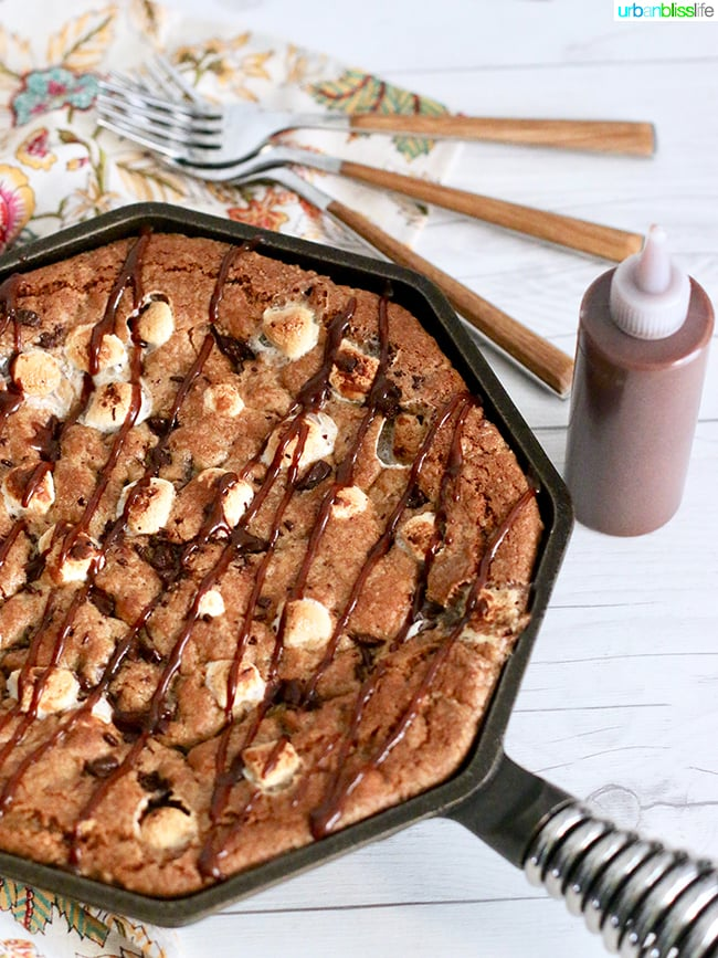 S'mores Skillet Cookie recipe on UrbanBlissLife.com