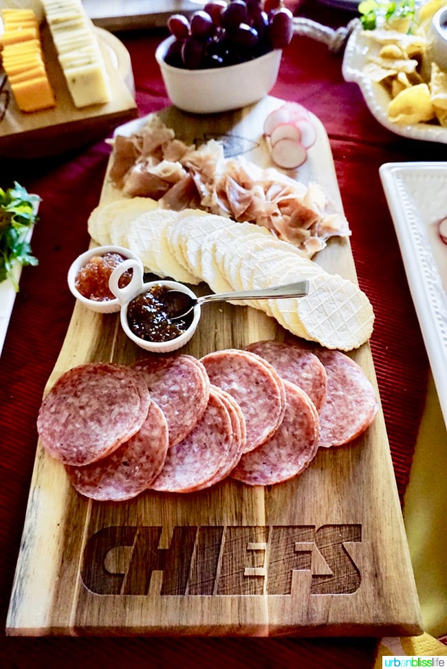 Charcuterie Board NFL KC Chiefs Tips for Making Your Homegating Party a Touchdown! Ideas and Recipes on UrbanBlissLife.com