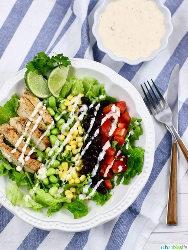 Easy Meal Prep Recipe: Southwest BBQ Chicken Salad with Dairy-Free Southwest Buttermilk Ranch Dressing