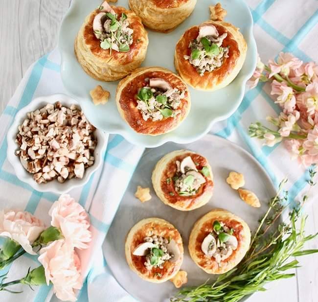 Meaty Mushroom Puff Pastry Cups appetizer recipe