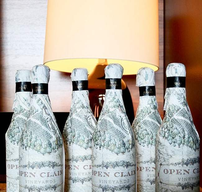 Open Claim Vineyards wrapped wine bottles
