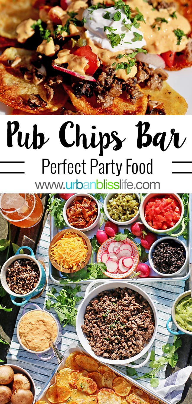 Loaded Mushroom and Beef Pub Chips Bar with all the fixings