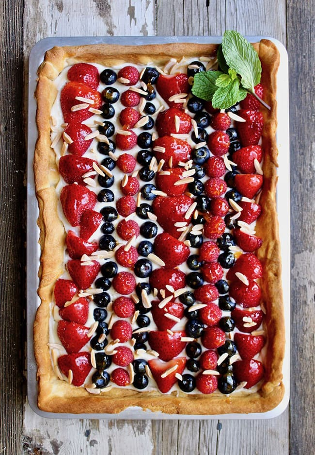 Red, White, and Blue Fruit Pizzas