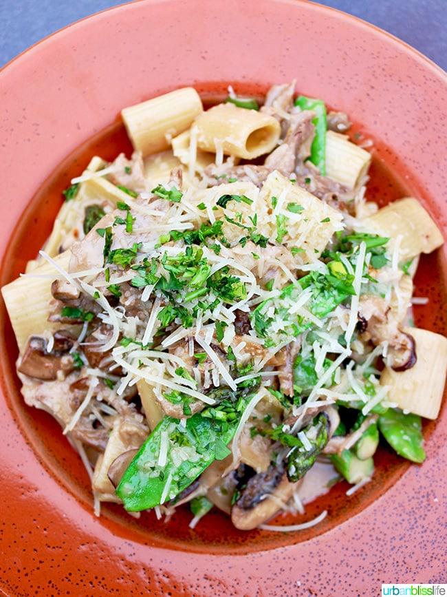 pasta at Noyo Harbor Inn Fort Bragg, California.
