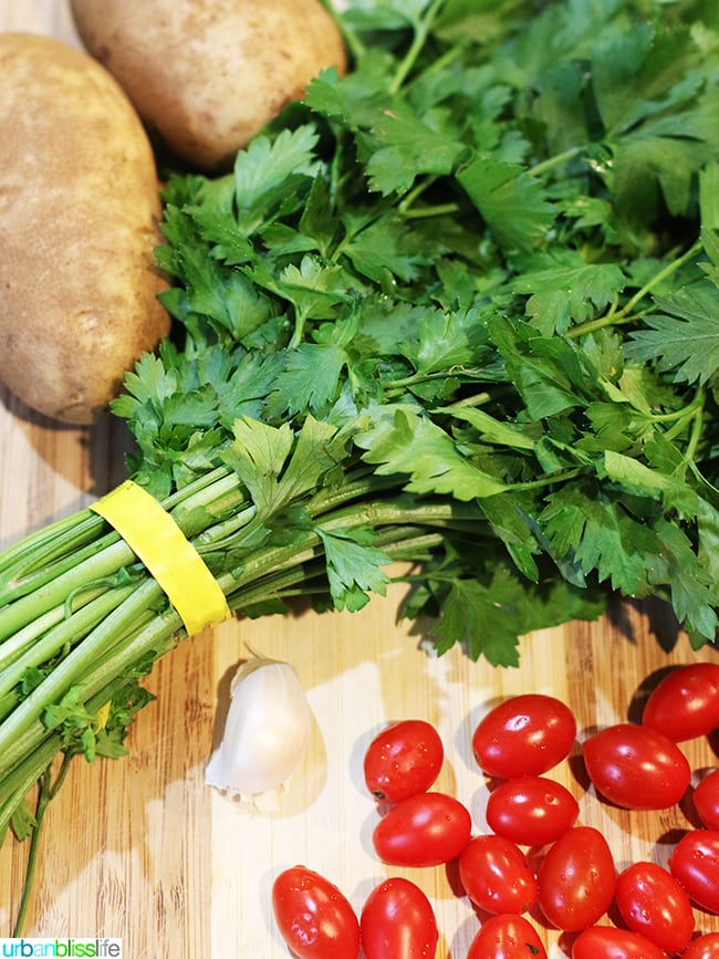 ingredients for Tomato Basil Skillet Scramble