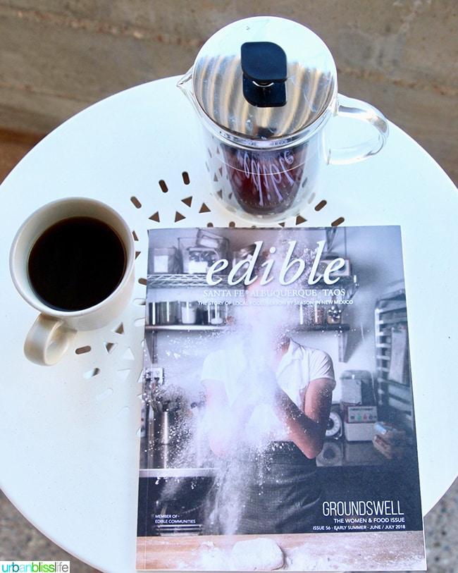 morning coffee on patio Los Poblanos Inn Albuquerque New Mexico