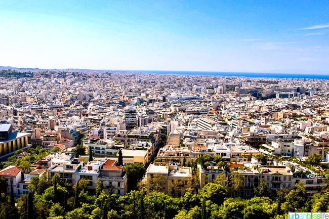 View of the city of Athens, Greece from near the top of the Acropolis