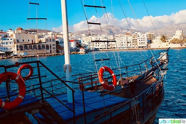 boat in Pigadia port on Karpathos Island, Greece