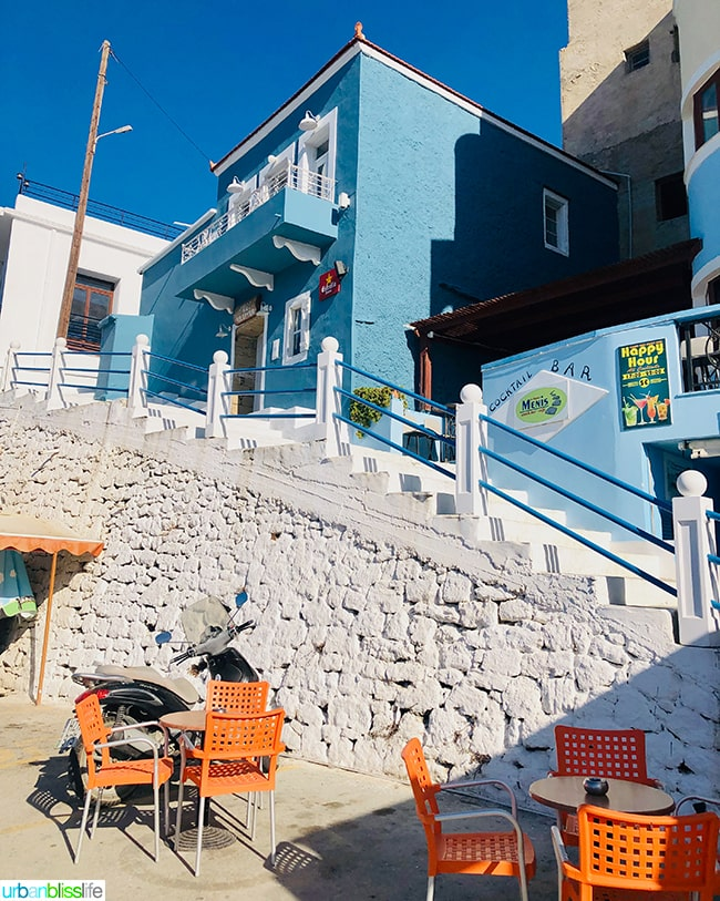 colorful bar in Pigadia on Karpathos Island Greece