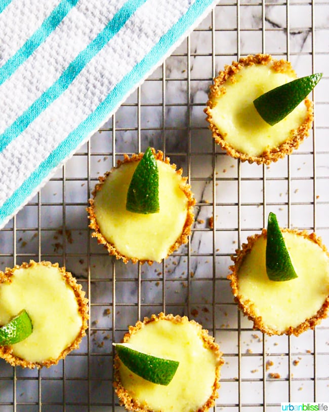 Mini Lime Tarts set on baking rack