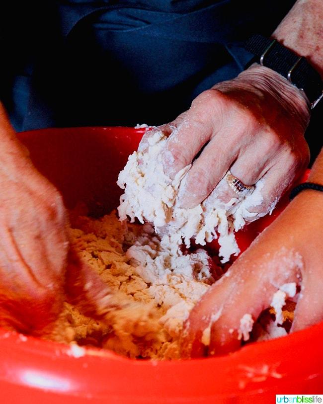 making makarounes pasta in Olympos Karpathos Greece