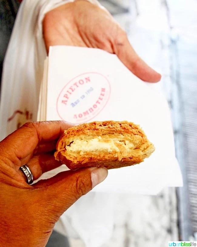 Kuru cheese pie in Athens, Greece