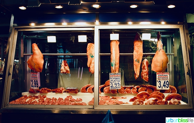 Meat sold at the Athens Meat Market
