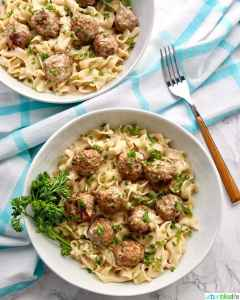 Instant Pot Swedish Meatballs dairy-free two bowls closer in