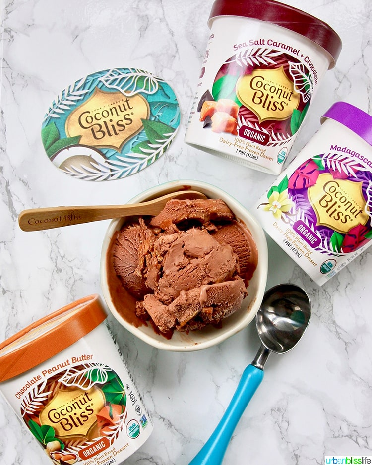 package of Coconut Bliss chocolate peanut butter ice cream and other flavors