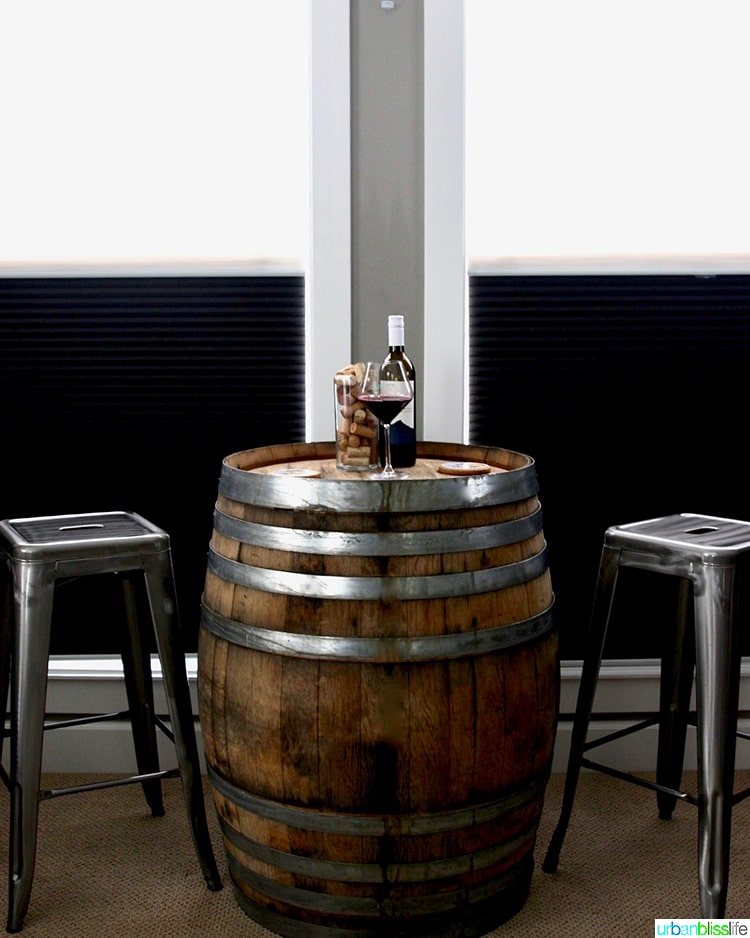 wine barrel table in home bar