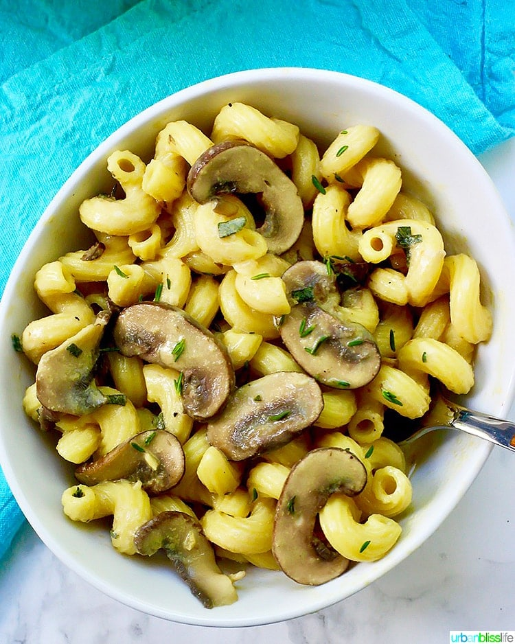 Creamy Vegan Mushroom Pasta in bowl with fork