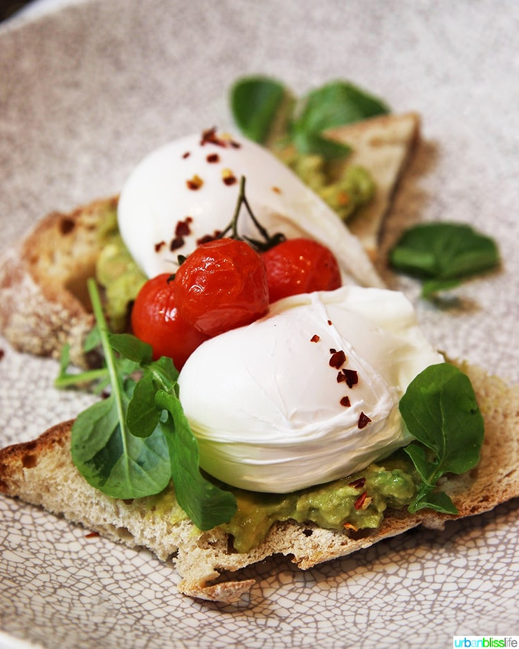 avocado toast and poached eggs at Wilder Townhouse