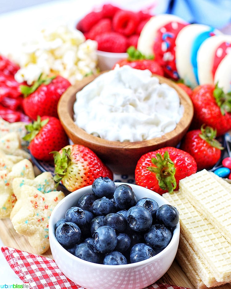 4th of July Dessert Board blueberries