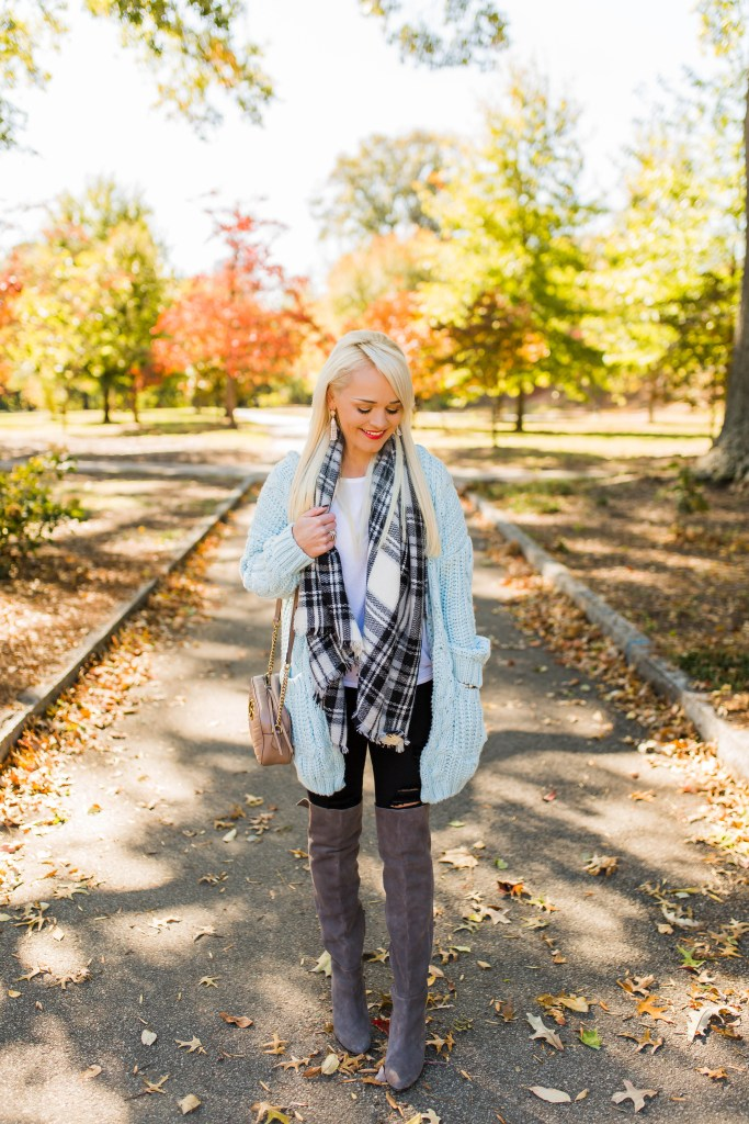 comfy-cardigan-blue-chicwish-plaid-blanket-scarf-over-the-knee-boots