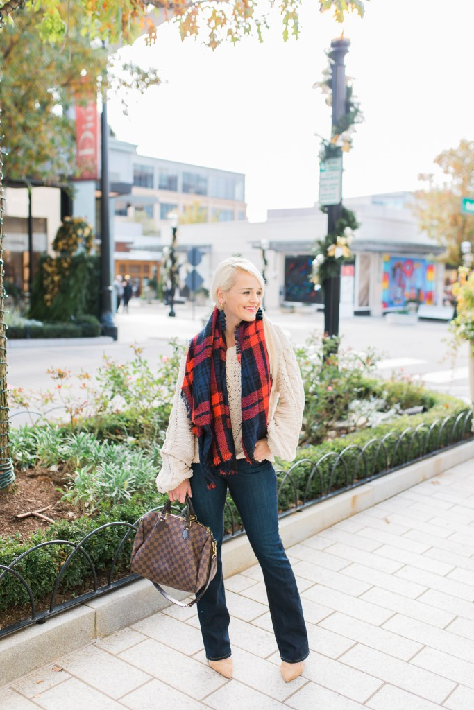 the-sweater-I-can't-stop-wearing-cable-knit-express-fashion-plaid-blanket-scarf