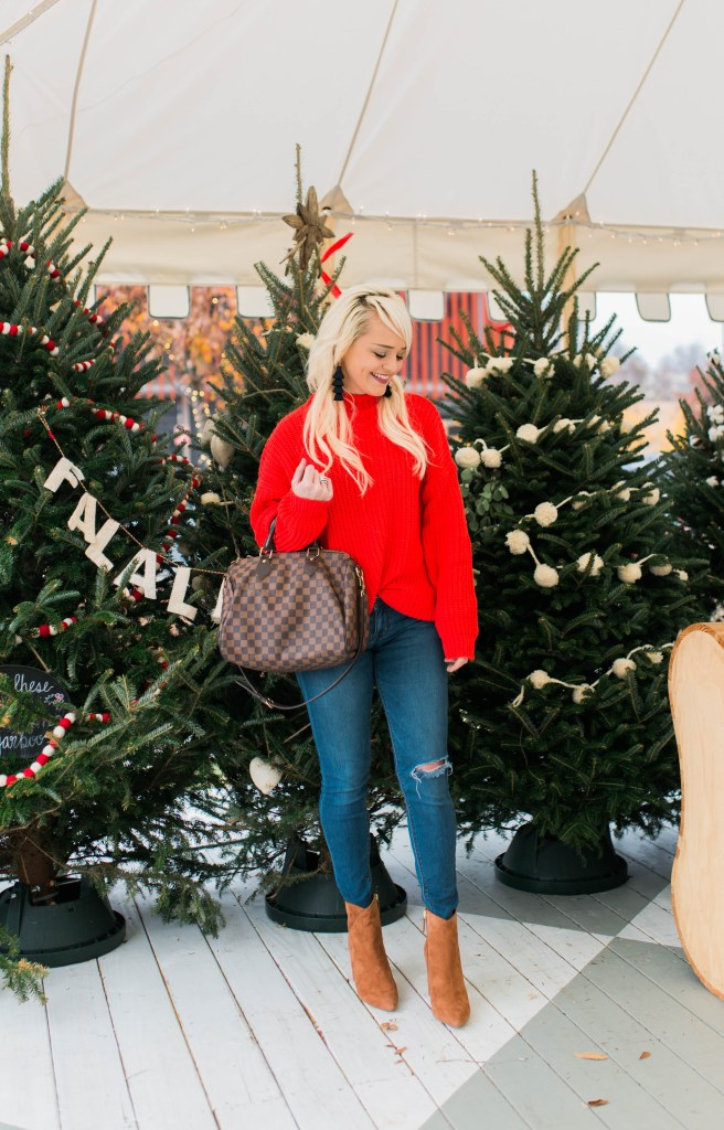 red-sweater-for-the-holidays-christmas-tree-farm-atlanta-blogger