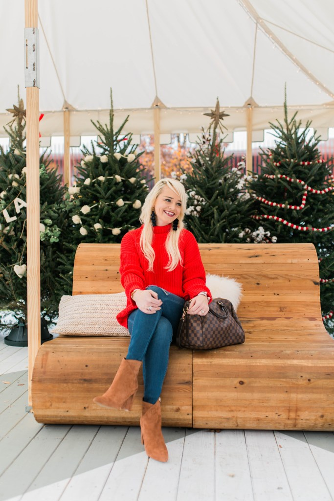 red-sweater-for-the-holidays-christmas-tree-farm-ponce-city-market-atlanta