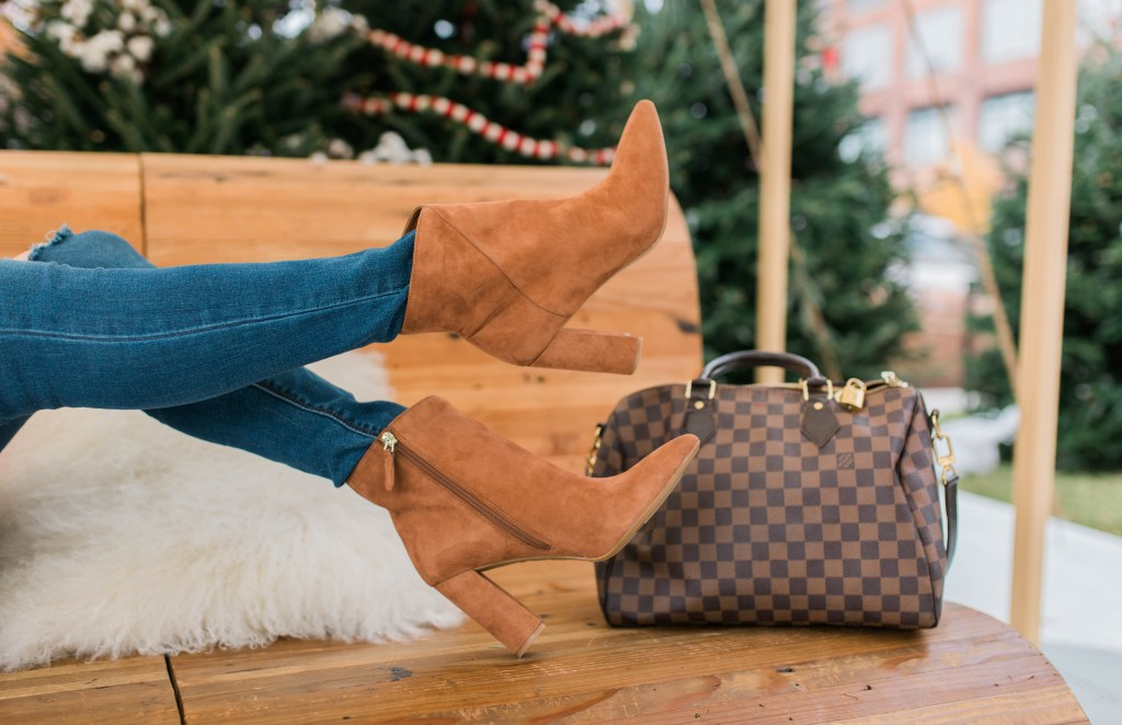 red-sweater-for-the-holidays-nine-west-booties-louis-vuitton-bag