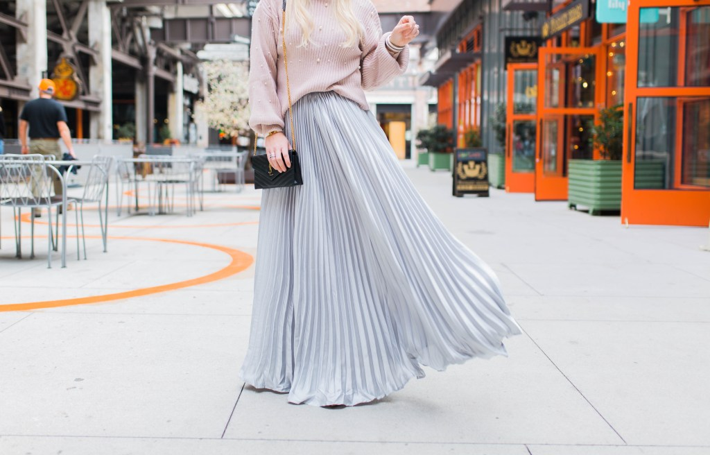 the-pleated-skirt-that-makes-a-statement-pearl-sweater-ysl-bag