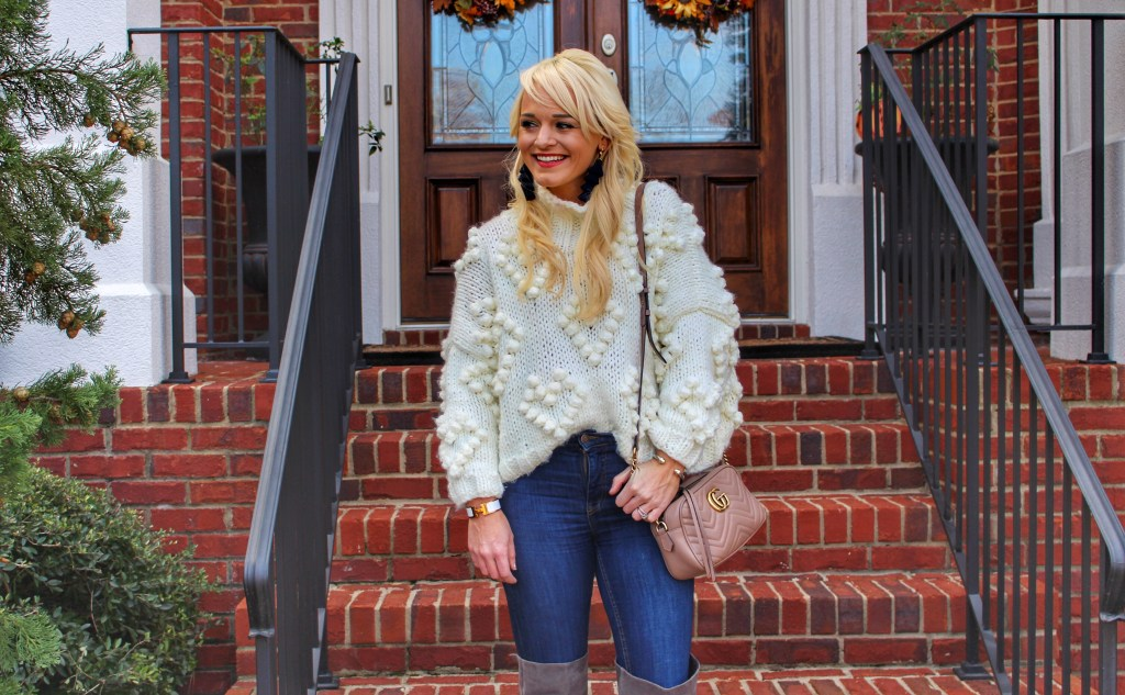 pom-pom-sweater-chicwish-boots-urban-blonde-fashion-blogger-tassel-earrings-baublebar-atlanta-winter-style