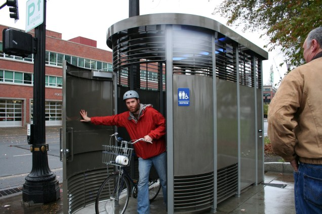 Bicyclist at a Portland Loo [Provided]