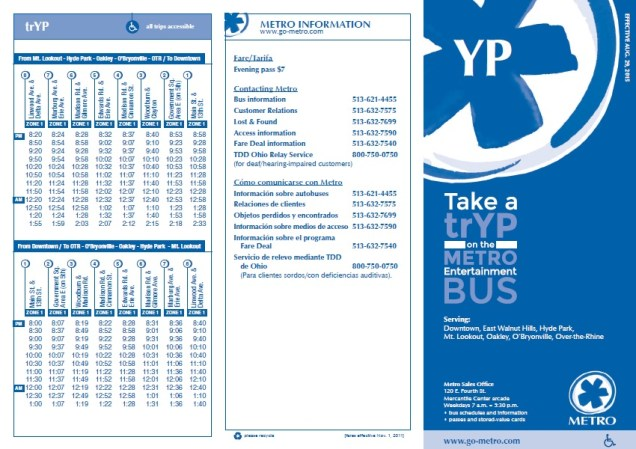 Metro Entertainment Bus Schedule [Provided]