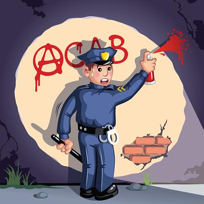 Police man doing graffiti cartoon
