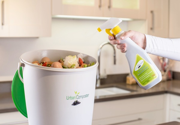The Compost Accelerator Spray replaces messy Bokashi Bran in the Urban Composter