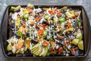 Lobster Nachos with Perfect Queso and Sweet Mango Habanero Sauce