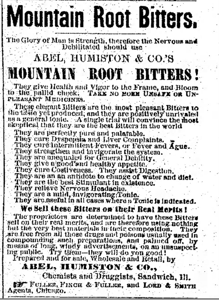 The tantalizing efficacy of Mountain Root Bitters makes one wish it were available today.