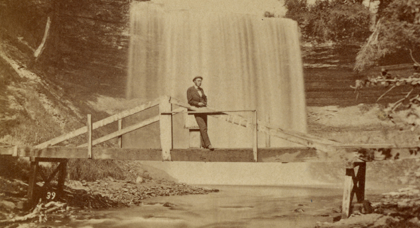 Another picture of the first bridge with its graffiti. This was taken by William Henry Illingworth, and was published by E. H. Burritt. The address given for Burritt was only in use for the year 1871, but Illingworth was photographing the falls in the 1860s, in-between junkets out West to do things like accompany General Custer on his Black Hills expedition of 1874.