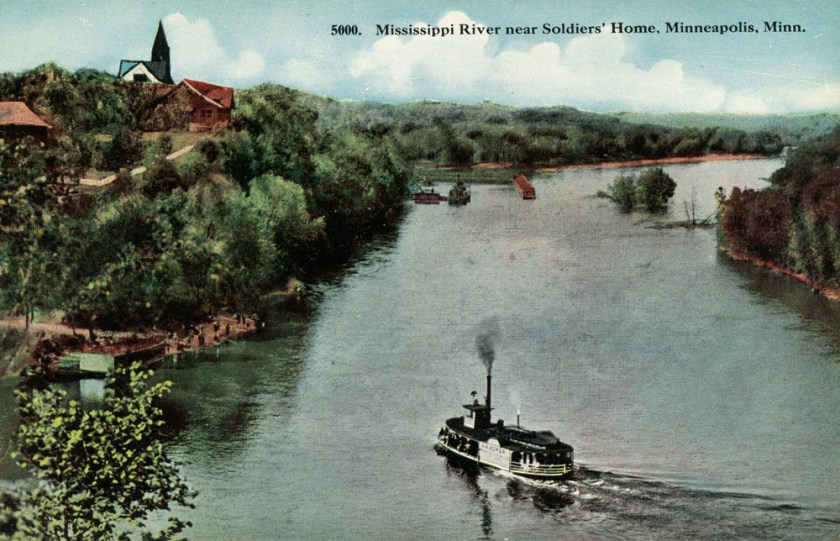 A steamboat on the Mississippi, with no sign of the Intercity Bridge (the Ford Bridge), nor any sign of Lock and Dam #1.