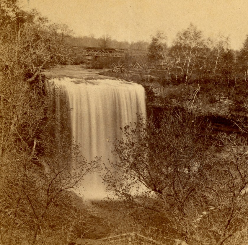 Sepia-toned water fall picture.