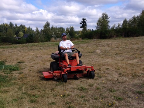 David mowing the Sawyer homestead