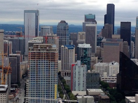 Seattle skyline from top of Space Needle (zoomed-in)