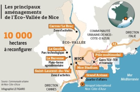 Les principaux aménagements de l'Eco-Vallée de Nice.