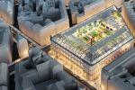 Vue aérienne de la poste du Louvre une fois rénovée. Autour d'une place intérieure végétalisée ouverte sur la ville, seront construits des bureaux, des logements sociaux et un hôtel.