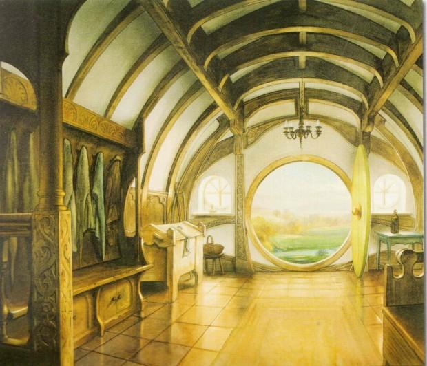 Bilbo's front Hall - John Howe - 1995