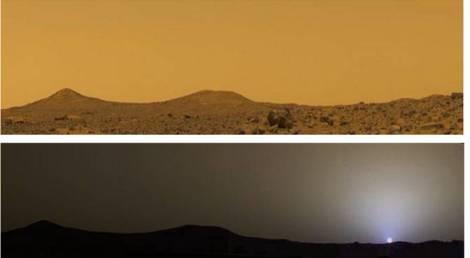 Un ciel de midi et un crépuscule sur Mars capturés par la mission Mars Pathfinder en 1999